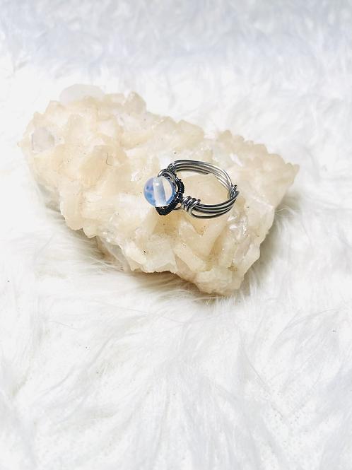 RINGS: MoonStone Opal w/ Stainless Steel Sz 6