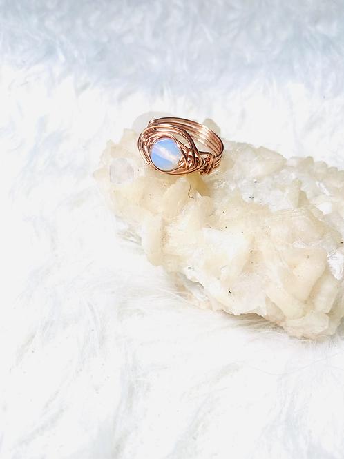 RINGS: MoonStone Opal w Copper Sz 10