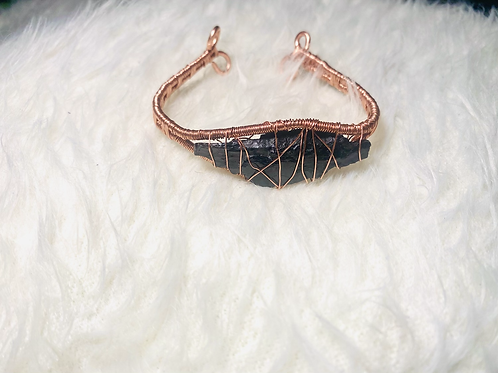 RAW Black Tourmaline Copper Bracelet