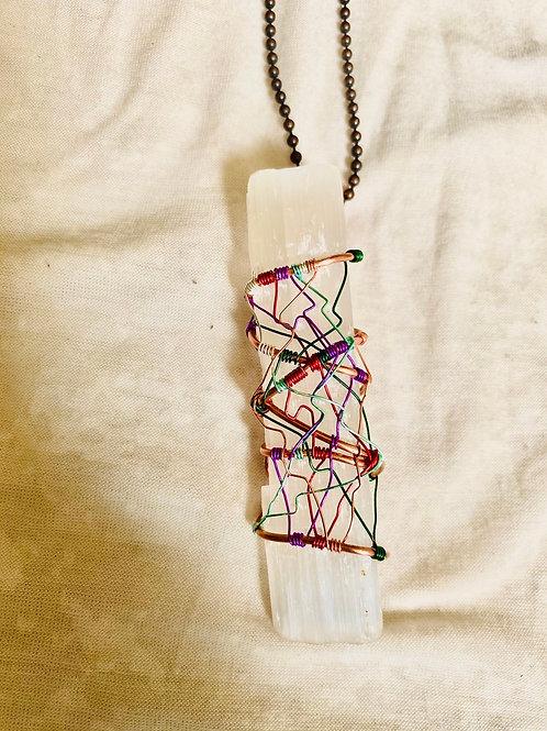 Selenite Wand Colorful Twist Pendant