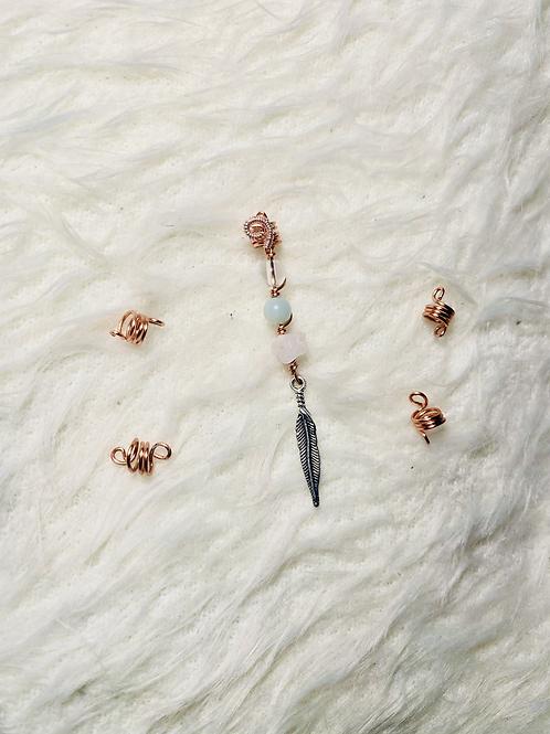Hair Jewelry5pcs| 4 Mini &Clear Quartz, Amazonite & Rose Quartz w/ Feather charm