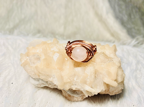 RINGS: Rose Quartz with Multi Colored Copper Size 7