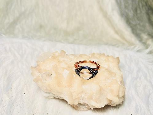 RINGS: Clear Quartz w/Multi Colored Copper Ring Size 7