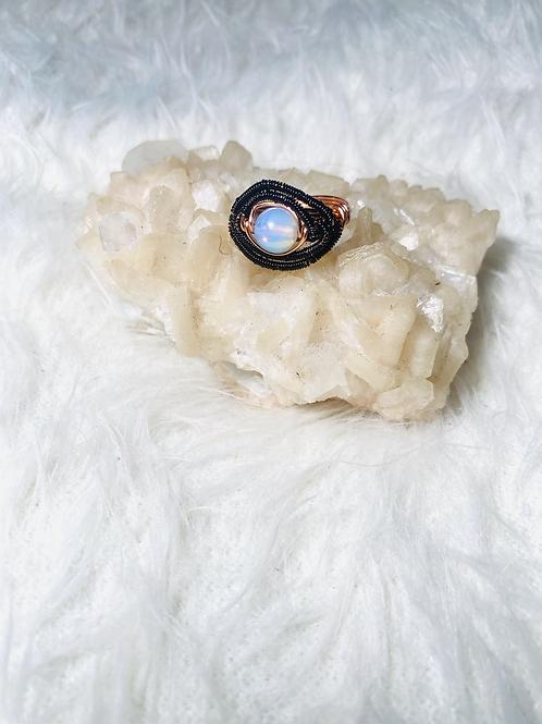 RINGS: MoonStone Opal w/ Multi-Copper Sz 7
