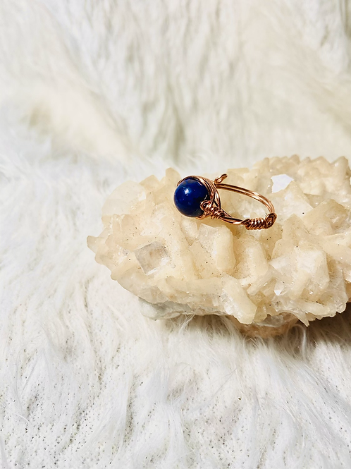 RINGS: Lapis Lazuli w/ Copper Ring Size 8