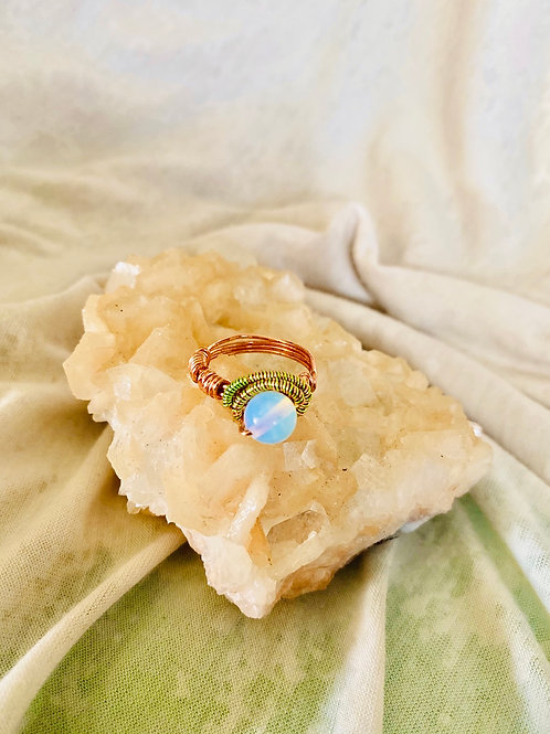 RINGS: MoonStone Opal w/ Colored Copper Sz 6
