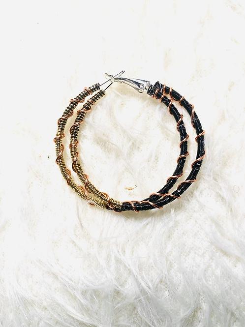 Black and Gold Medium Copper Hoop Earrings