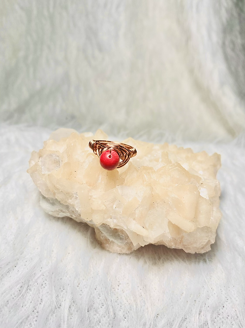 RINGS: Coral with multi color Copper Ring Size 5