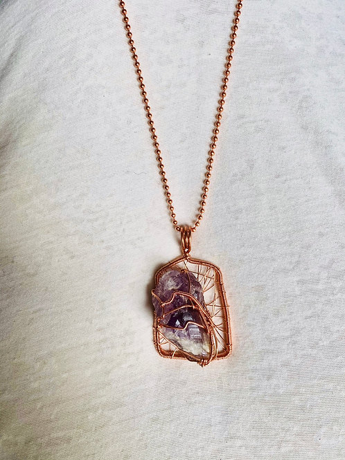 Raw Amethyst Large Copper Pendant