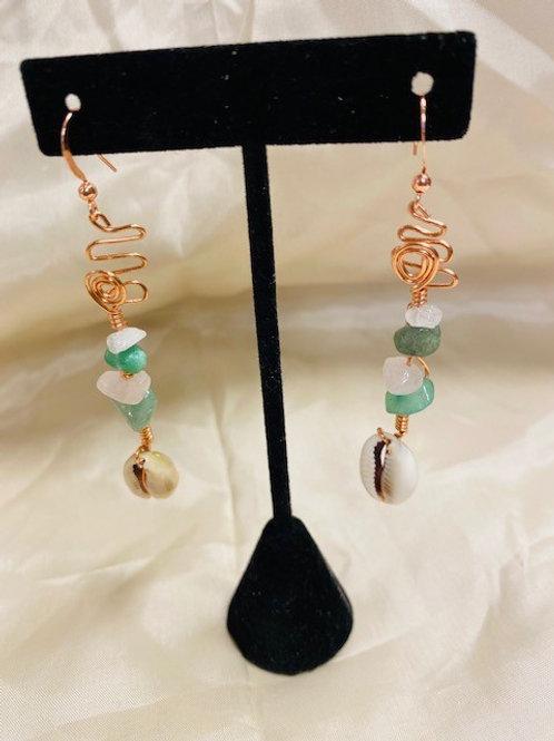 Rose Quartz & Aventurine Copper Dangle Earrings