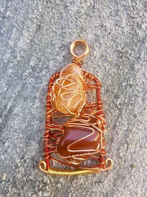 Red Jasper & Citrine Handmade Pendant