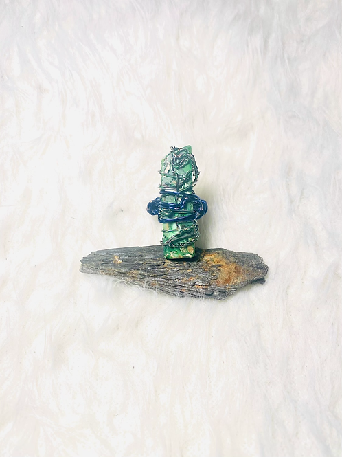 TheRINGS Green Jasper Ring w/Colored Copper Sz 7