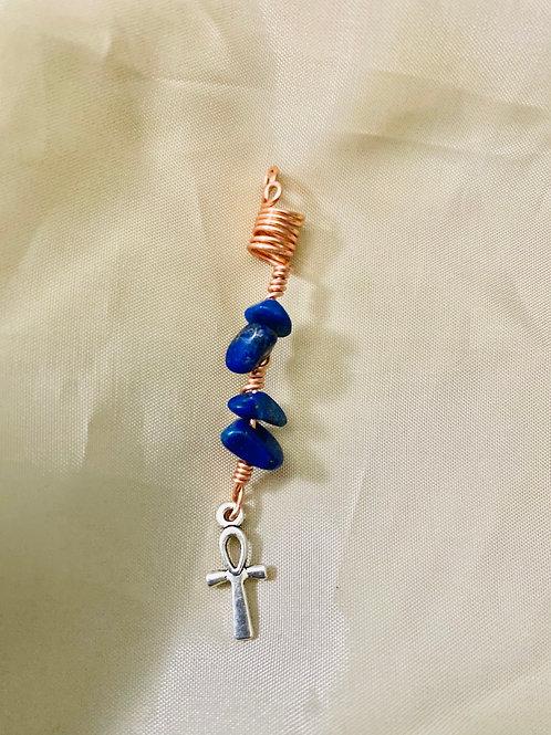 Hair Jewelry| Lapis Lazuli w/ Ankh Charm