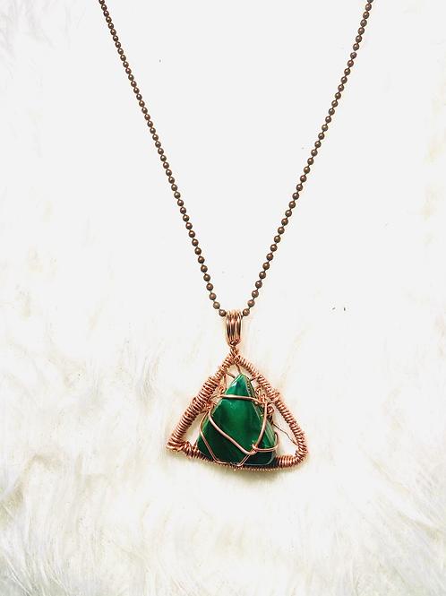 Malachite Triangle Copper Pendant