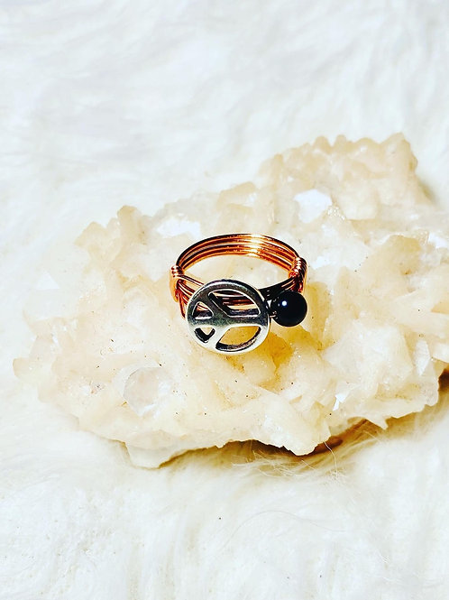 RINGS: Black Obsidian & Peace Charm Copper Ring Size 8