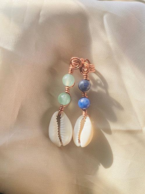 Hair Jewelry| Aventurine & Sodalite Cowrie Shell Set