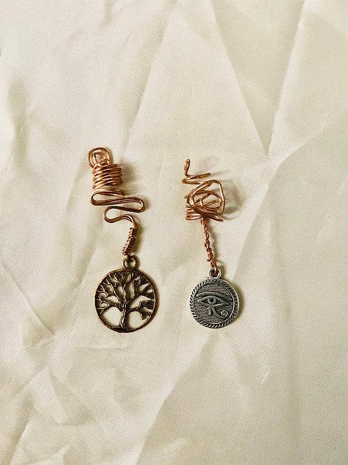 Hair Jewelry|The Tree of life & Eye of Heru Charm Set
