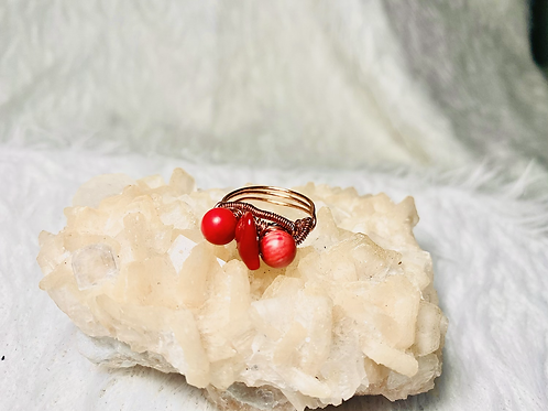 RINGS: Coral w/ Copper Ring Size 7
