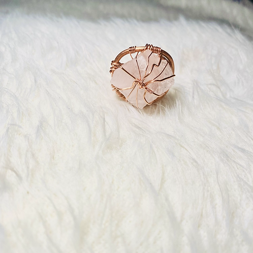 RINGS: Rose Quartz with  Copper Size 8 (Large)