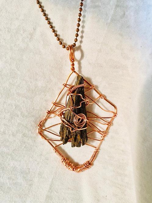 Black Kyanite Copper Caged Handmade Pendant