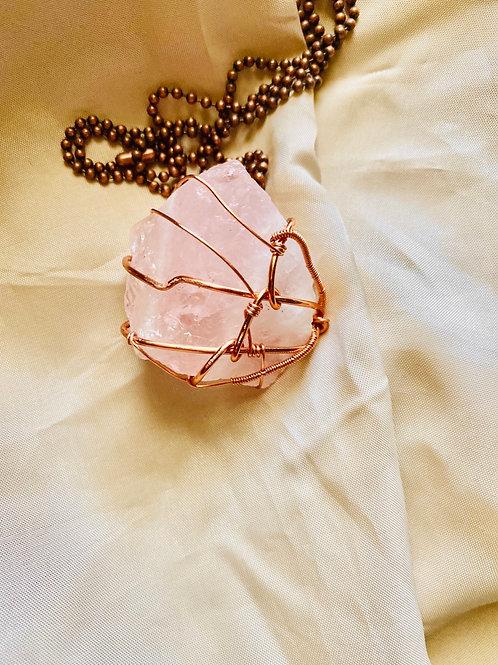 RAW Rose Quartz Copper Pendant