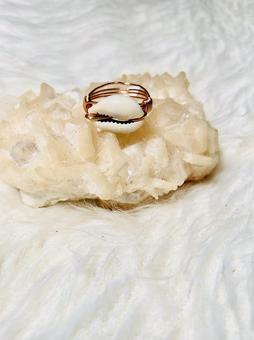 RINGS: Cowrie Shell w/ Copper Ring Size 9