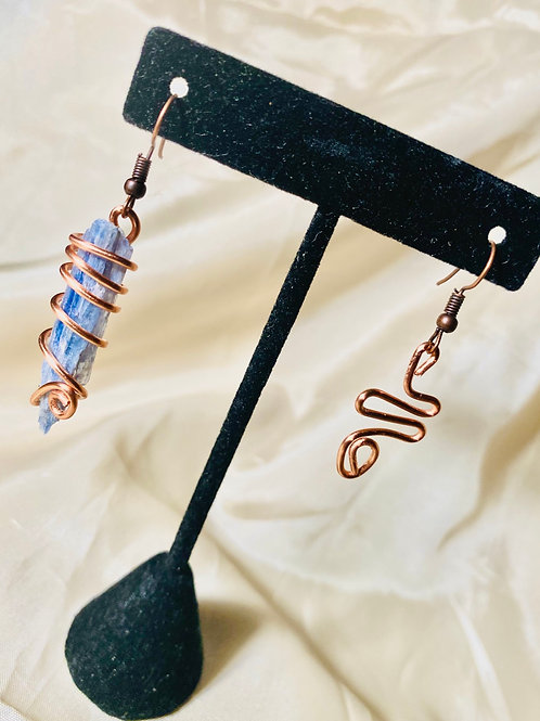 MisManaged|Blue Kyanite Copper Earrings