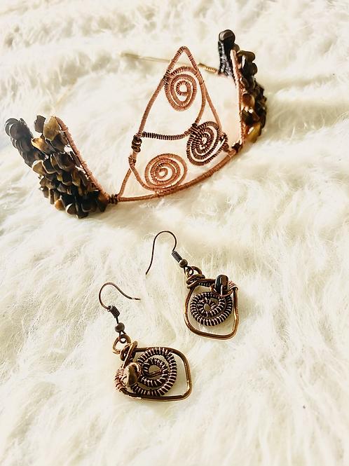 Tiger Eyes & Wooden Beads Crown Set(Empress Line)