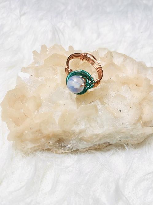 RINGS:MoonStone Opal w/ Multi-Copper Sz 7