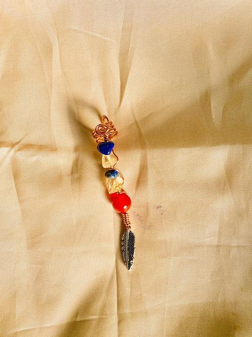 Hair Jewelry| Lapis Lazuli, Citrine & Carnelian w/ Feather Charm