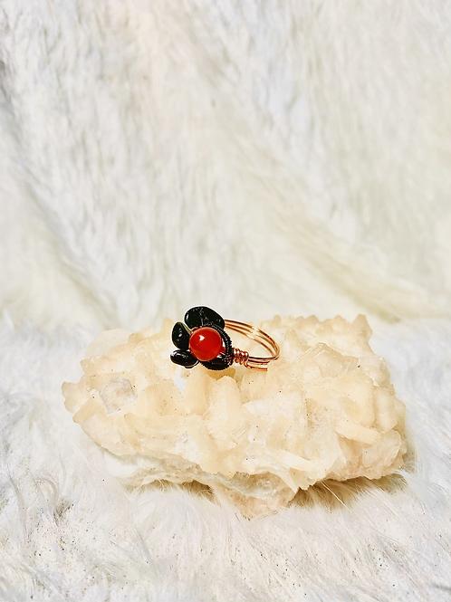 RINGS:Carnelian & Onyx Flower Copper Ring Size 10