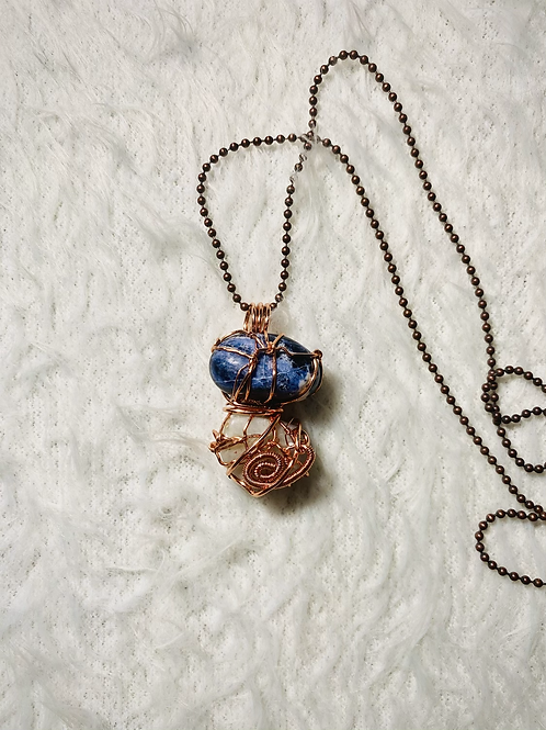 Sodalite and Blue Calcite Duo Copper Pendant