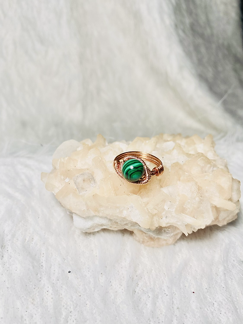 RINGS: Malachite w/ Colored Copper Size 6