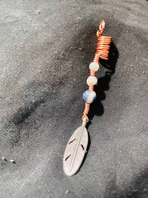Hair Jewelry|Sodalite|Pearls & Feather
