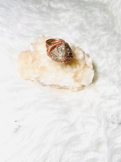 Pyrite Ring w/ Copper Sz 7