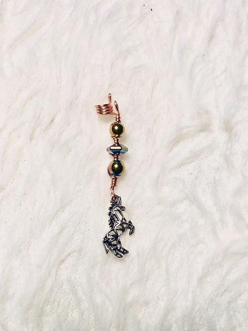 Hair Jewelry|Gold & Rainbow Hematite w/ Unicorn Charm