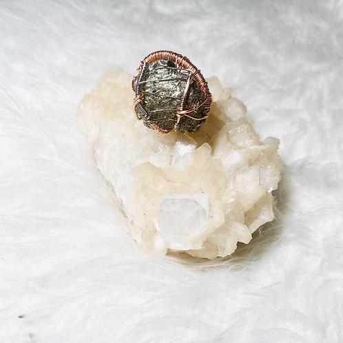 Pyrite Ring w/ Silver & Rose Gold Copper Sz 9