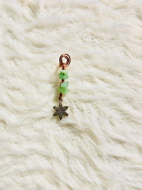 Hair Jewelry| Aventurine w/ Flower Charm