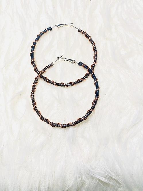 Black, Blue & Standard Medium Copper Hoop Earrings