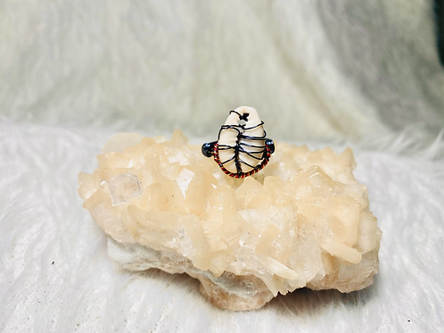 RINGS: Cowrie Shell w/ Multi Colored Copper Ring Size 7