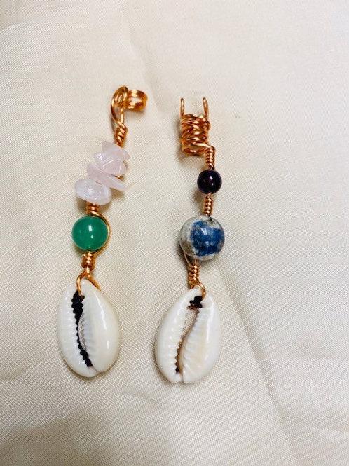 Hair Jewelry|Aventurine, Rose Quartz, Amethyst & Sodalite with Cowrie Shell