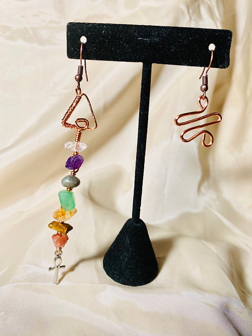 MisManaged| 7 Chakras Copper Earrings