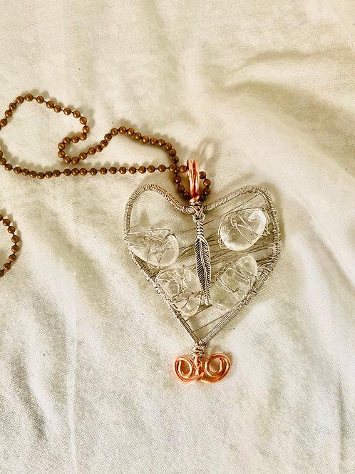 Clear Quartz Silver Cooper Heart Pendant