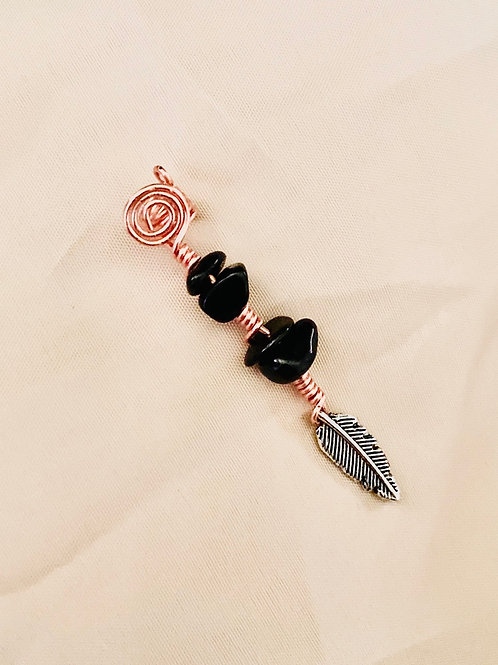 Hair Jewelry| Black Tourmaline w/ Feather