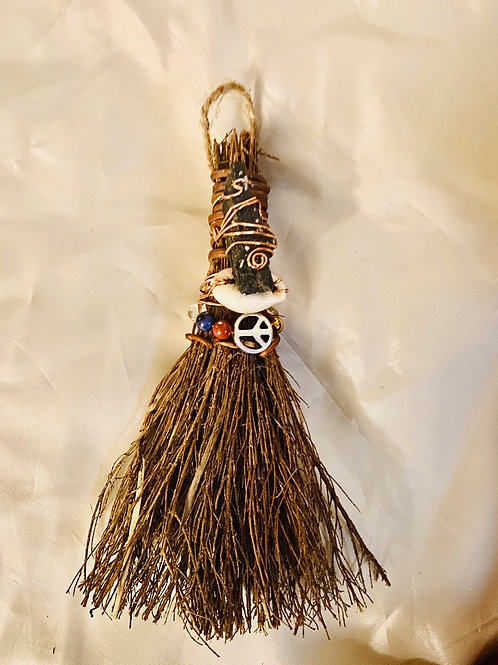 Cinnamon Broom Kyanite  Charged with Crystals & Copper