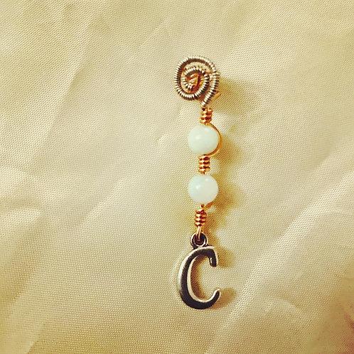 "Hair Jewelry| Amazonite w/ Letter ""C"""