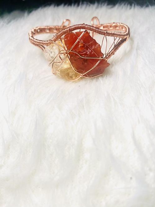 RAW Citrine & Carnelian Copper Bracelet