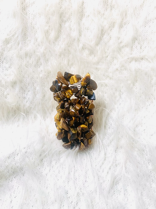 RINGS: Tigers Eye Large Copper Ring Size 8