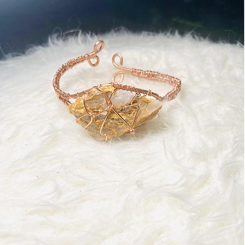 Raw Golden Quartz Copper Bracelet