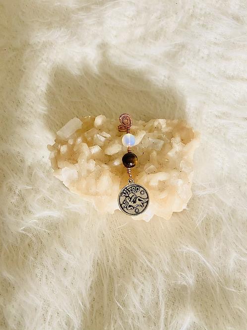 Hair Jewelry|MoonStone Opal & Carnelian w/Virgo Charm